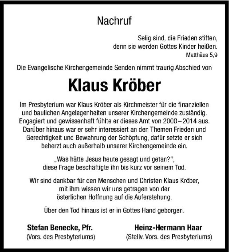 Traueranzeige für Klaus Kröber vom 14.03.2020 aus Westfälische Nachrichten
